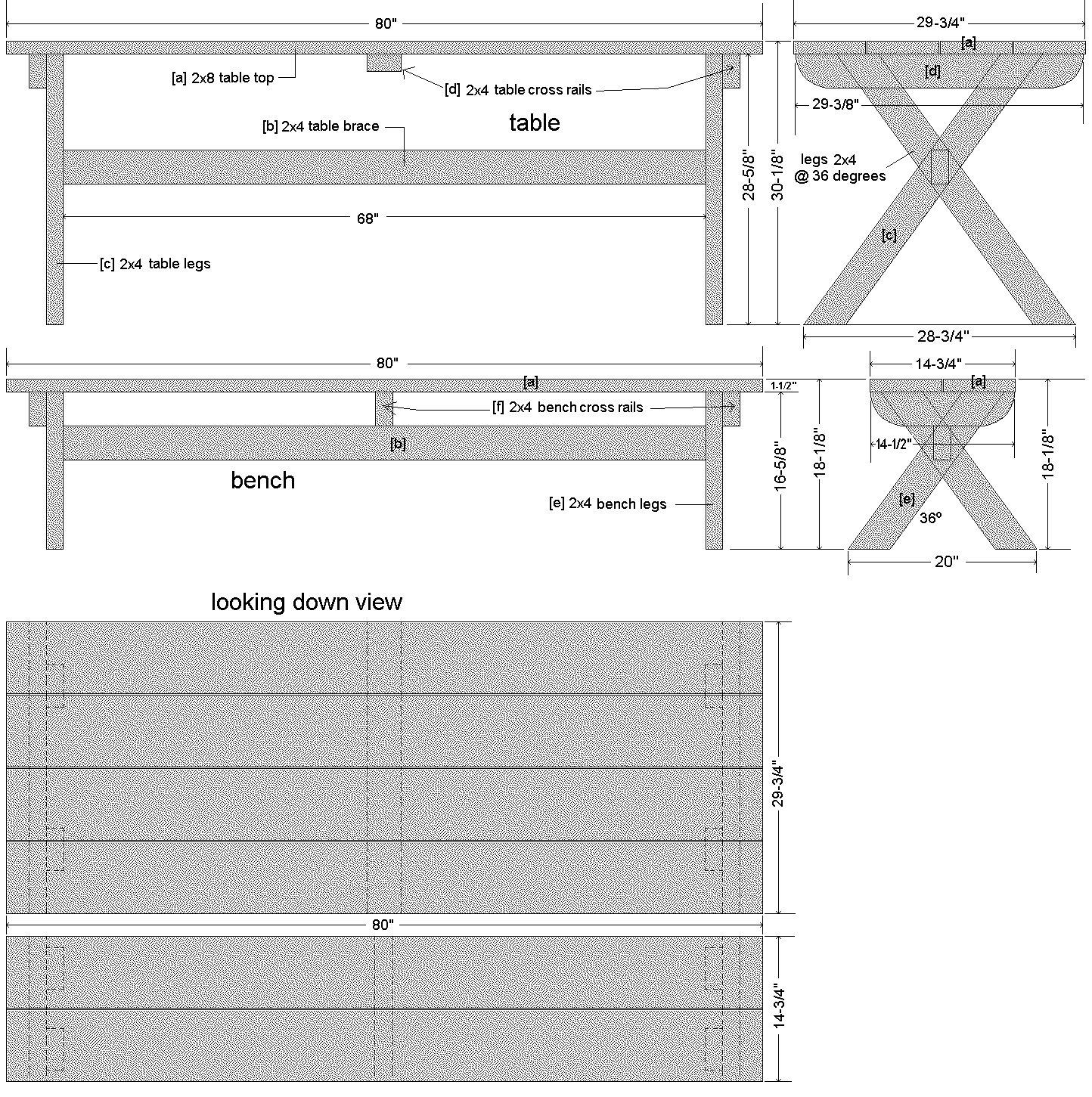 Cross-Leg Table Plan – Imperial Verion