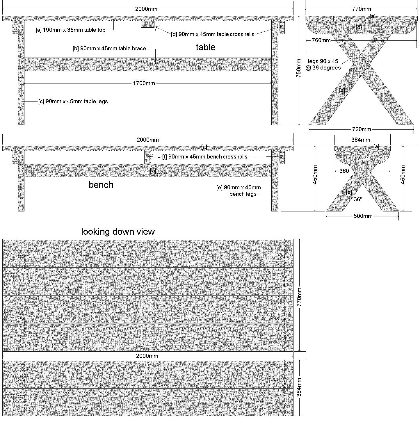 Cross-Leg Table Plan – Metric Verion