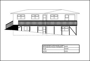 Deck with Handrail and Steps : Elevation Plan