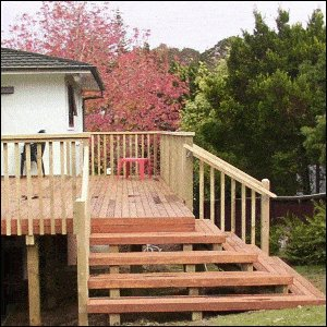 Deck with Handrail and Steps : Stepside
