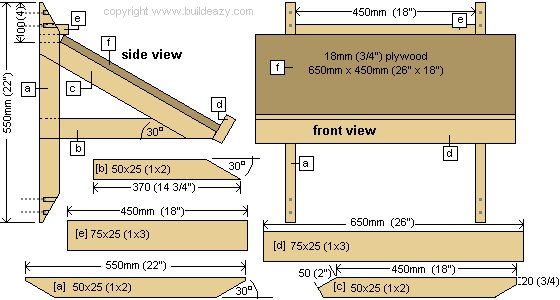 Wall Mounted Drawing Desk Plans : Front and Side View