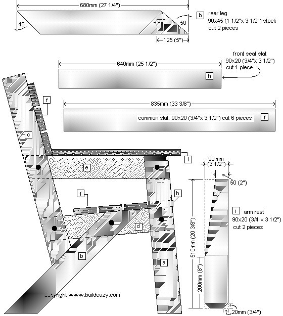 Simple Garden Chair : Pieces Plans - Imperial & Metric Version 2