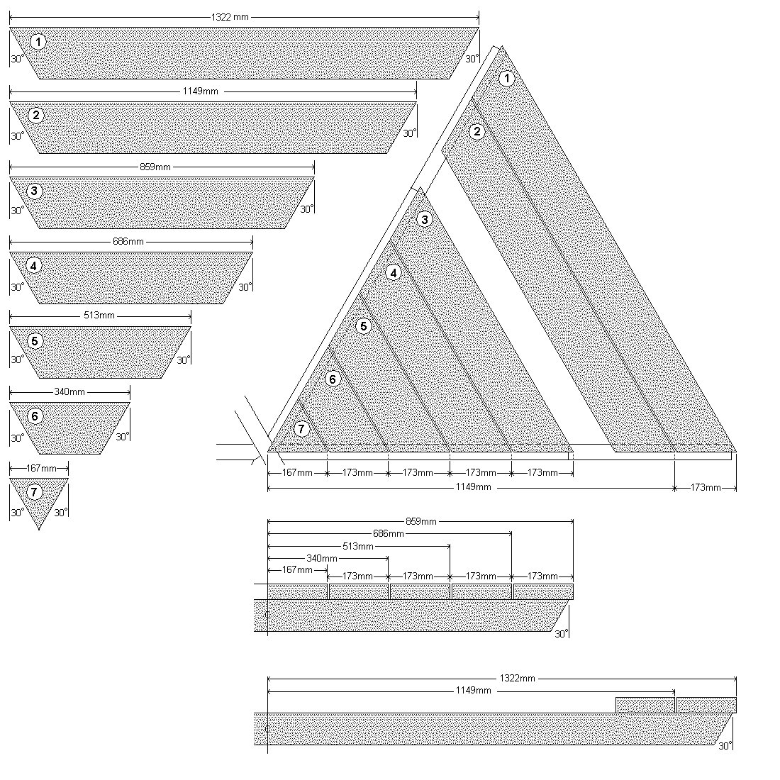 Hexagonal Table With Seating Plan : Table and seat board cutting list and detail - Metric Version