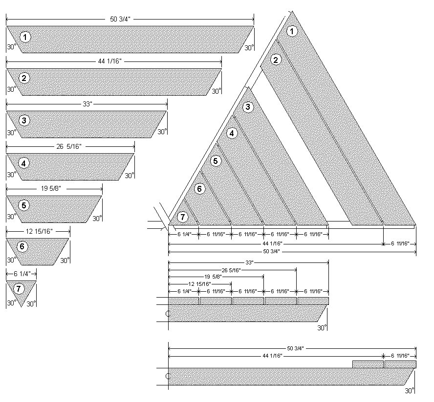 Hexagonal Table With Seating Plan : Table and seat board cutting list and detail - Imperial Version