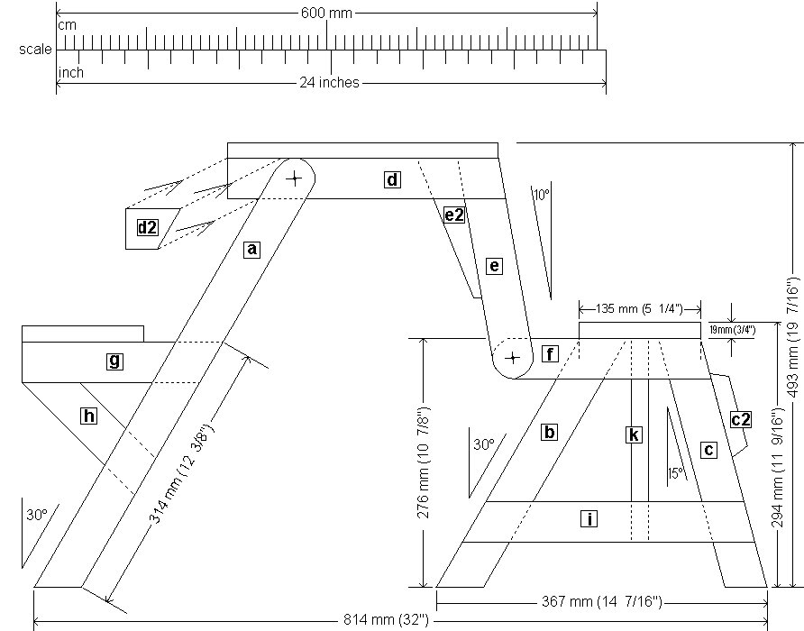 Kids' 2 in 1 Bench and Picnic Table Plan : Side View