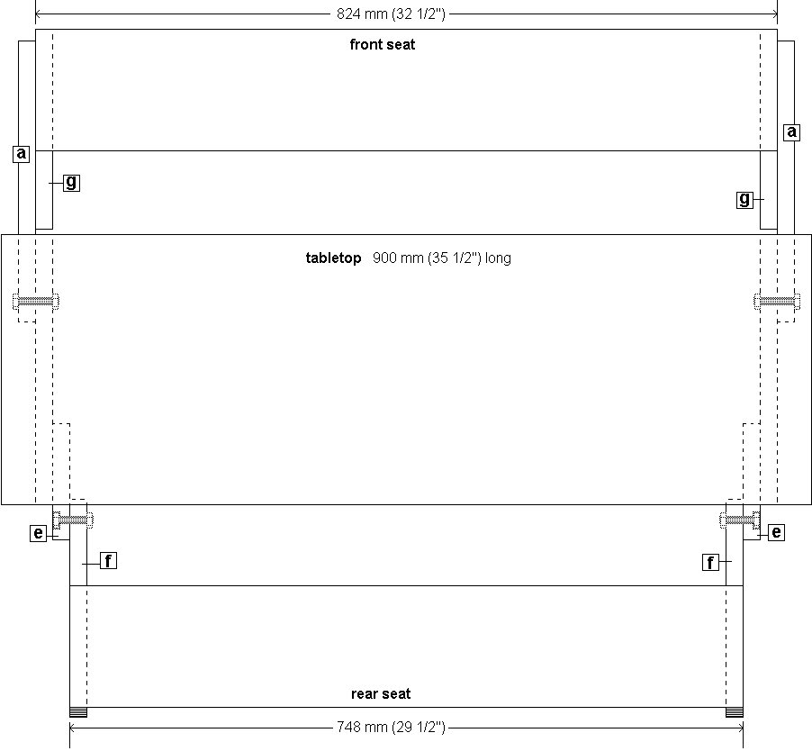 Kids' 2 in 1 Bench and Picnic Table Plan : Looking Down View