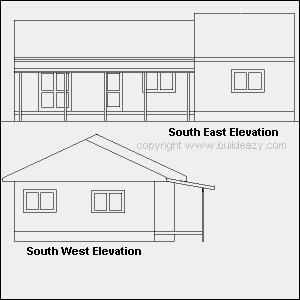 Lean-to Pergola: Elevation Plan