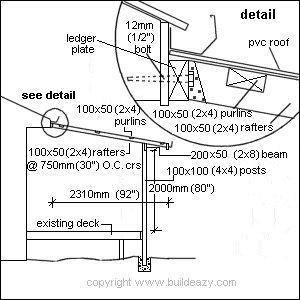 Lean-to Pergola: Cross-Section Plan