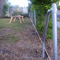 Pipe and Chain-Link Mesh Fence : Posts Lined Up and Concreted In