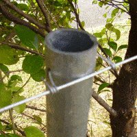 mesh and pipe fence wire post tie