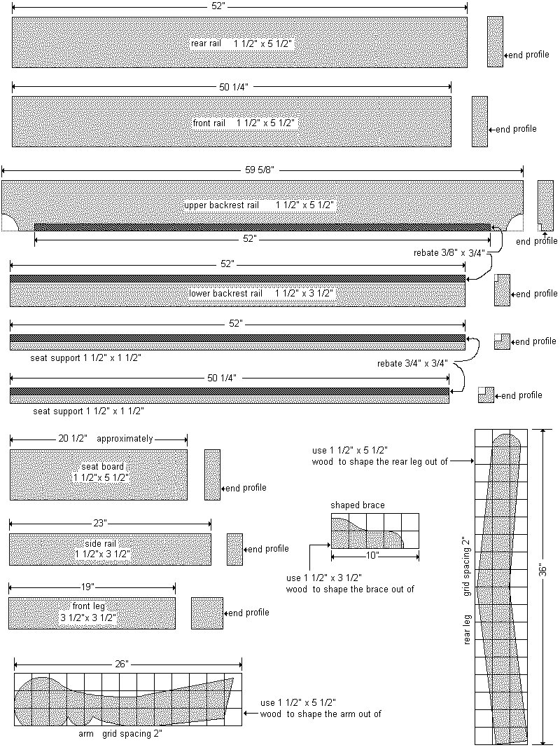 Old Style Park Bench Plan : Pieces -  Imperial Version