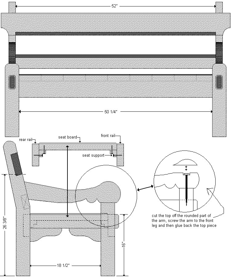Old Style Park Bench Plan : Cut-Out Detail - Imperial Version