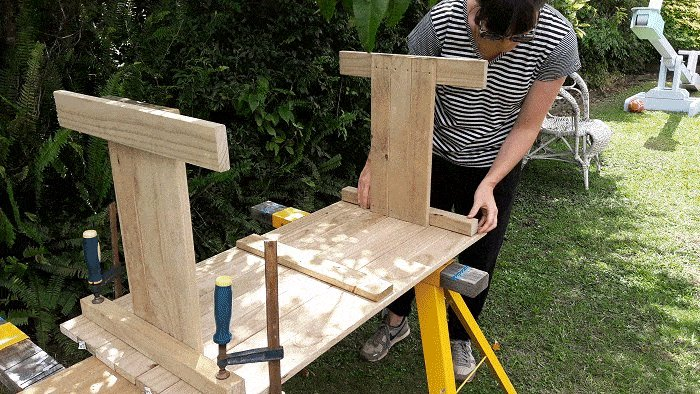 Kids Table and Bench : Clamp the sides to the Tops - Picture