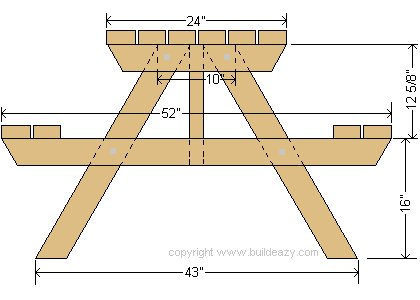 Picnic Table 4 Seaters Plans: End Profile - Imperial Version