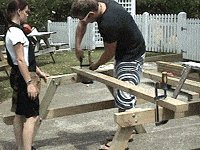 Traditional Picnic Table Plans : Stand the Two End Frames