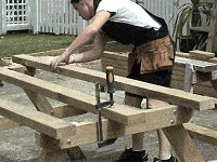 Traditional Picnic Table Plans : Place the Outside Boards