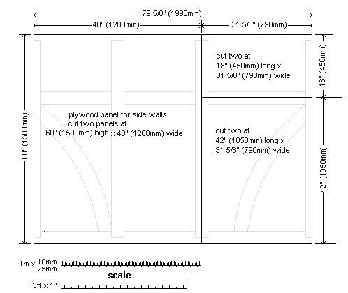 8x7 Tudor-Style Garden Shed Plan : Side Wall Sheet Detail