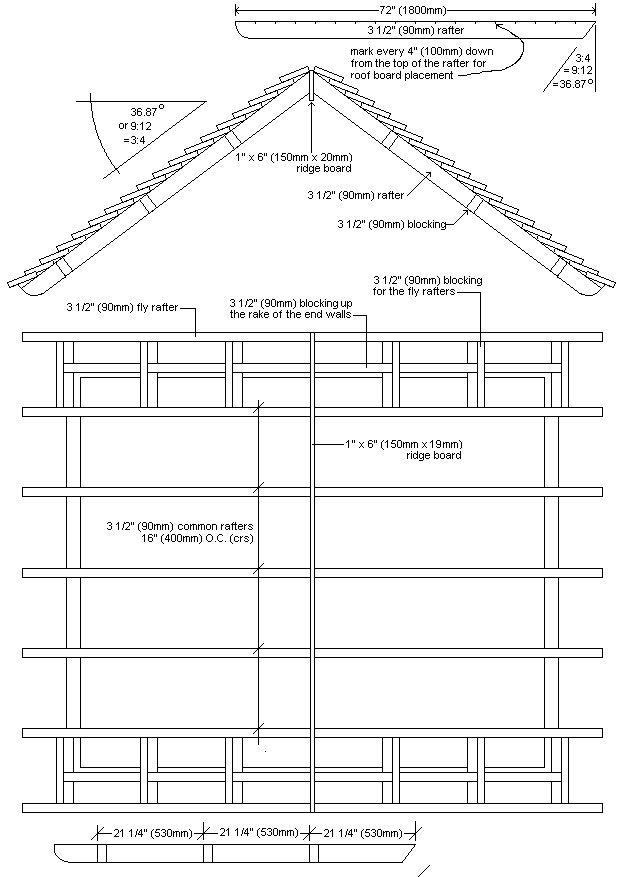 8x7 Tudor-Style Garden Shed Plan : Roof Plan