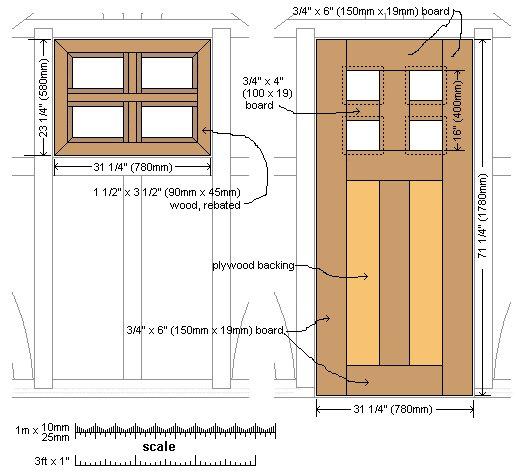 8x7 Tudor-Style Garden Shed Plan : Door and Window Plan