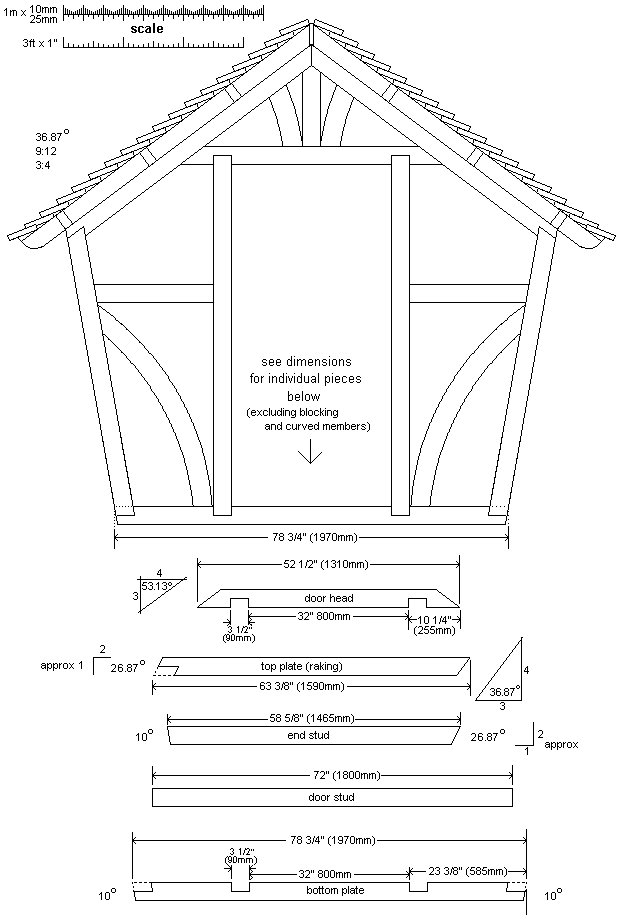 8x7 Tudor-Style Garden Shed Plan : Front Wall Frame
