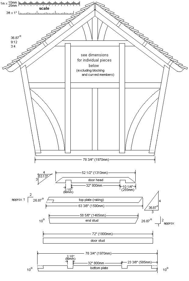8x7 Tudor-Style Garden Shed Plan : Rear Wall Frame