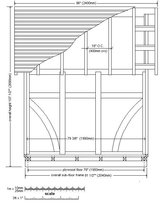 8x7 Tudor-Style Garden Shed Plan : Side Elevation Plan