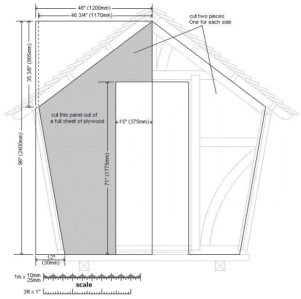 8x7 Tudor-Style Garden Shed Plan : Font Wall Sheet Detail