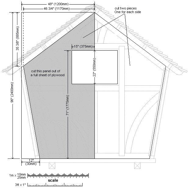 8x7 Tudor-Style Garden Shed Plan : Rear Wall Sheet Detail
