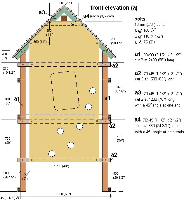 Kid's Play Fort Plan : Front Elevation