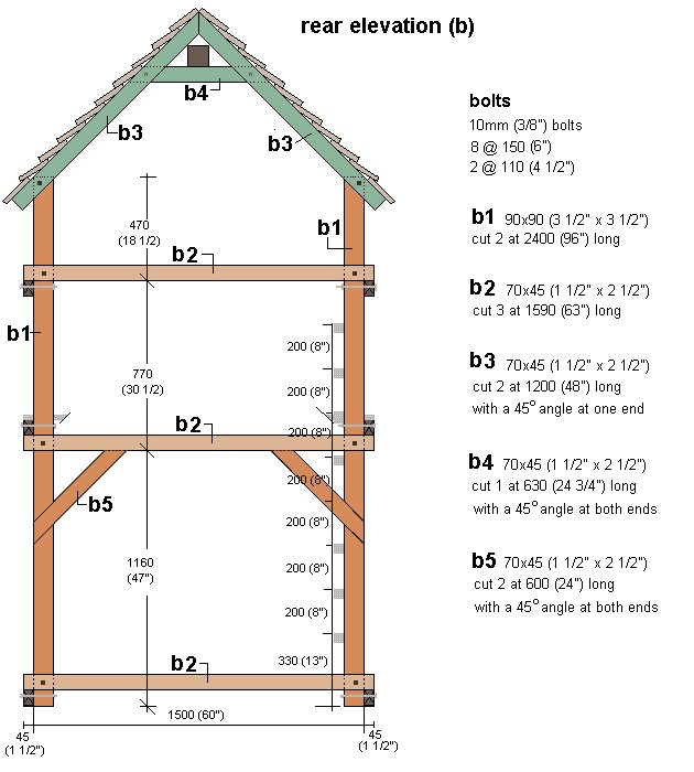 Kid's Play Fort Plan : Rear Elevation