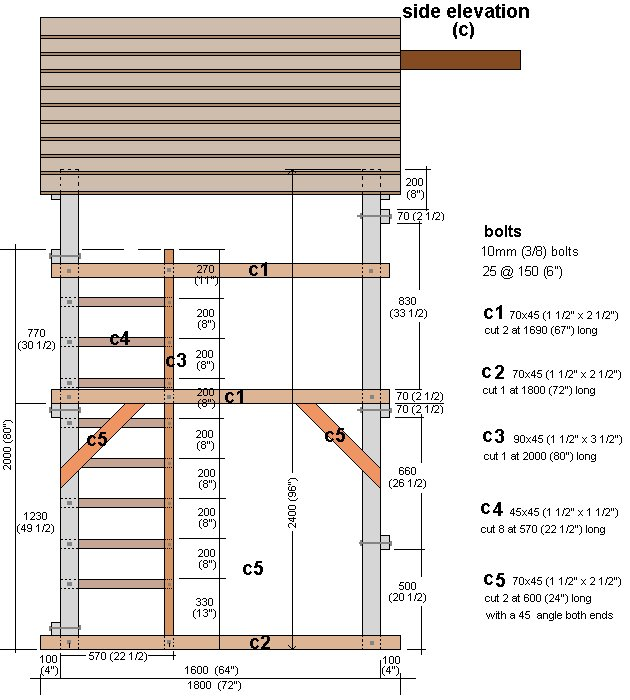 Kid's Play Fort Plan : Left Side Elevation