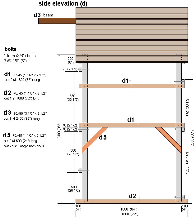 Kid's Play Fort Plan : Right Side Elevation