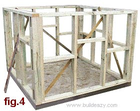 Playhouse Plans : Wall Frames in Place
