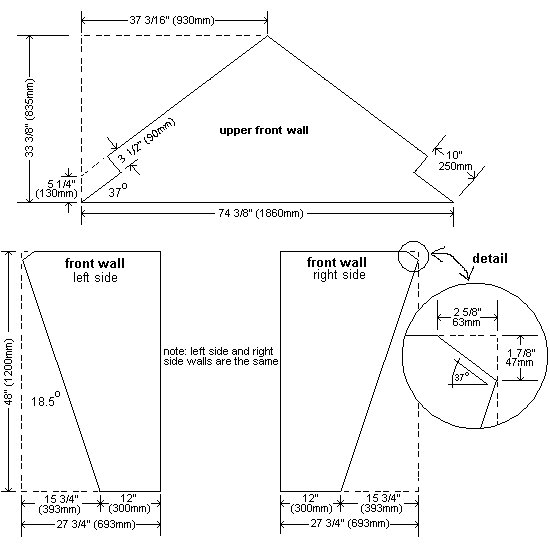 Plywood Playhouse Plan : Upper, Left and Right Front Wall