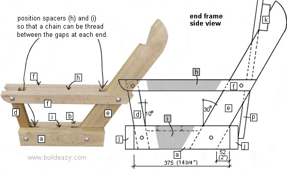 Porchswing Seat Plan : End Frame Side View