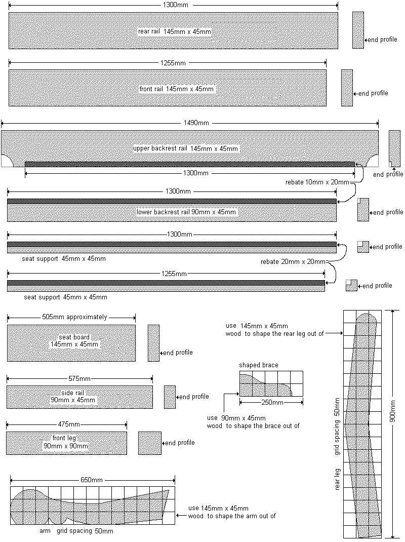 Old Style Park Bench Plan : Pieces -  Metric Version