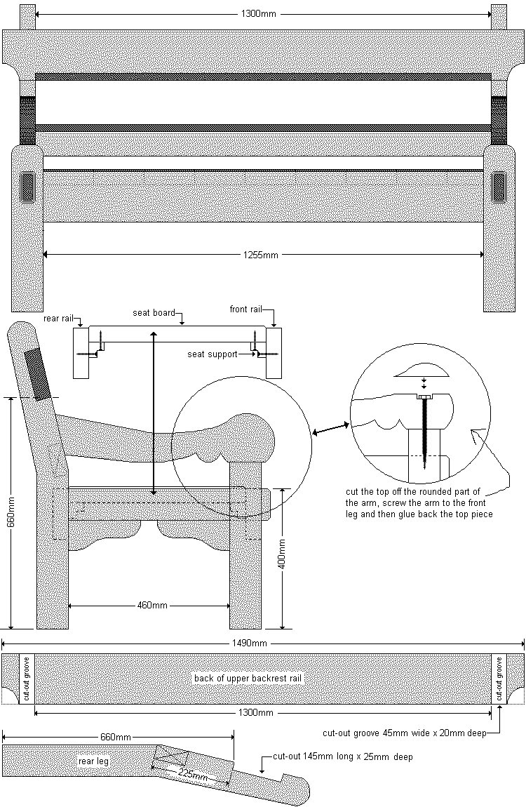 Old Style Park Bench Plan : Cut-Out Detail - Metric Version