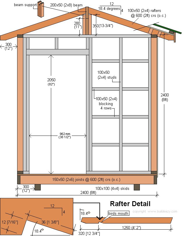 8'x10' Storage Shed Plans : Cross-Section and Rafter Detail