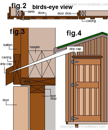 8'x10' Storage Shed Plans : Installing the door Plan