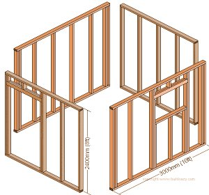 8'x10' Storage Shed Plans : Wall Frames