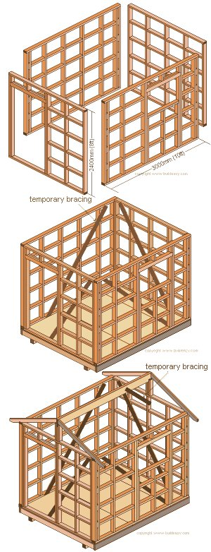 8'x10' Storage Shed Plans : Standing the Frames and the Roof Beams