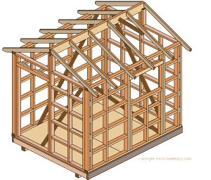 8'x10' Storage Shed Plans : Roof Rafters