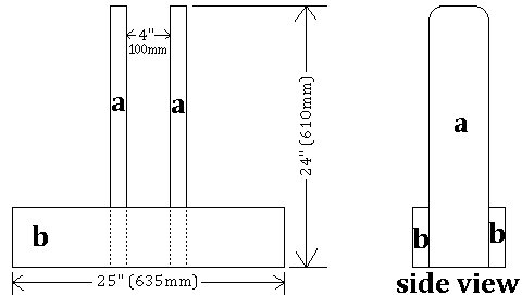Seesaw with Sliding Seats : Stands Plans  Side View