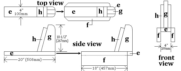 Seesaw with Sliding Seats : Seat Frames Plans Front, Top and Side View