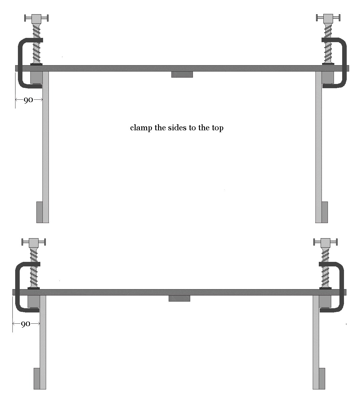 Kids Table and Bench : Clamp the sides to the Tops - Metric version