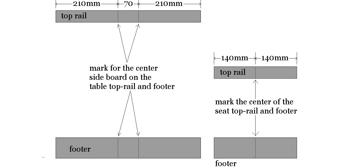Kids Table and Bench : Mark Position for the First Side Board - Metric Version