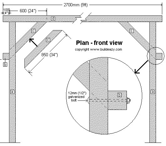 Garden Swing Seat Support Frame Plan : Front View