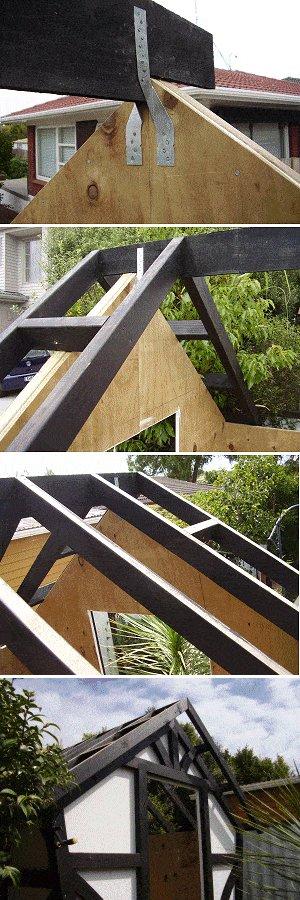 8x7 Tudor-Style Garden Shed Plan : Putting Up the Ridge Board
