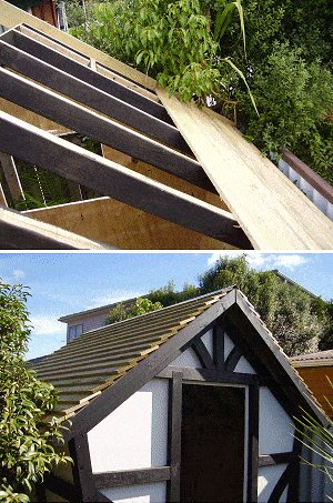 8x7 Tudor-Style Garden Shed Plan : Laying and Fixing the Roof Boards