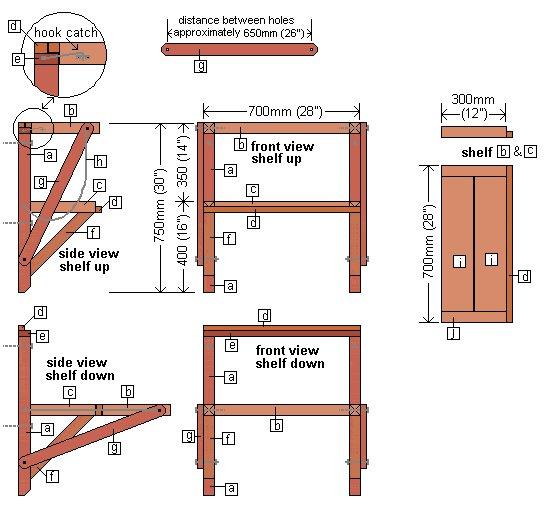Wall Mounted Folding Work Bench :  Identifying Members